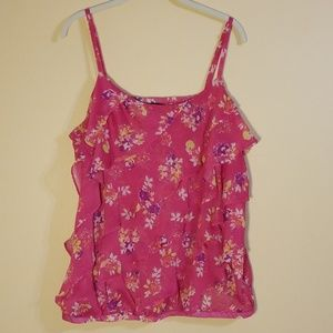 Torrid Pink Ruffle Front Floral Blouse
